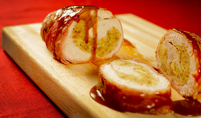 Bacon Wrapped Smoked Turkey Breast Stuffed with Jalapeno Cornbread Dressing