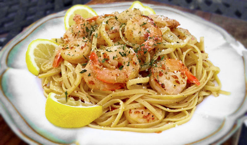 Grilled Shrimp Scampi Over Linguini