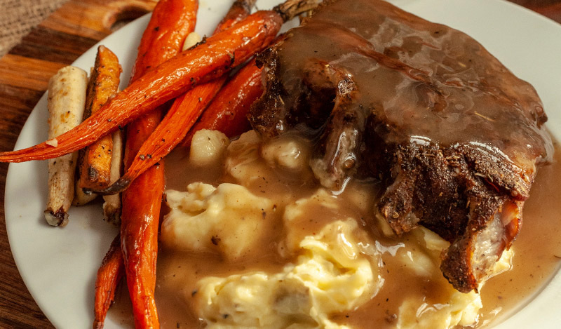 Holiday Ribs with Rustic Garlic Mashed Potatoes and Roasted Root Vegetables