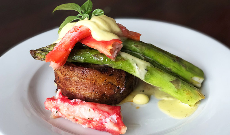 Bacon Wrapped Grilled Filet Oscar with Thai Basil Hollandaise