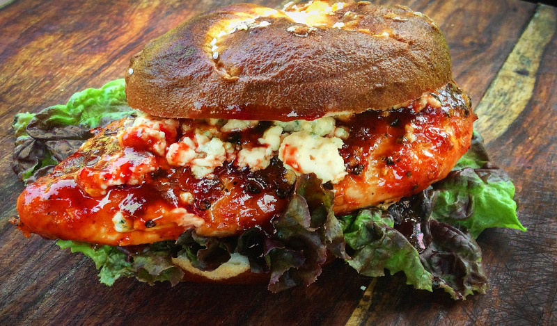 The Red White and Blue BBQ Chicken Sandwich
