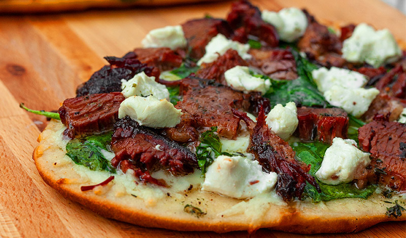 Maddie's Smoked Brisket Flatbread Pizza on the Grill