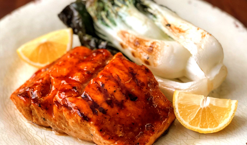 Sweet and Spicy Sesame Garlic Grilled Salmon with Grilled Baby Bok Choy
